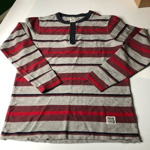Obey Mens Small Striped Long Sleeve Henley Shirt